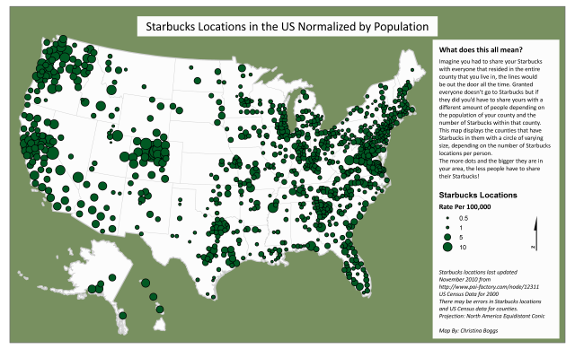 'Starbucks Locations in the US Normalized by Population' by Christina Boggs