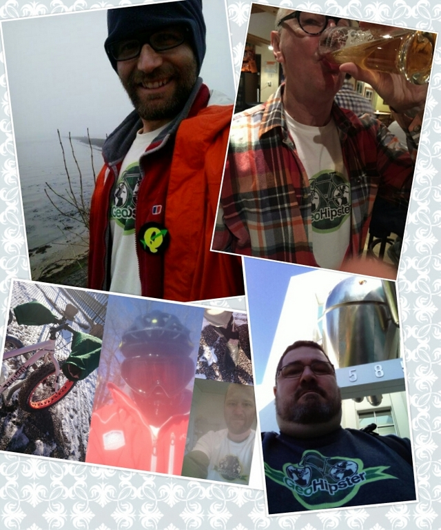Geohipster sightings (clockwise from top left): Cramond, Scotland, UK; Champéry, Switzerland; Mountain View, CA, USA; Minneapolis, MN, USA