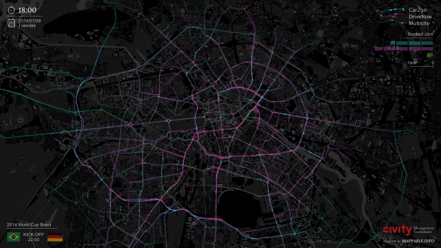 Mappable car-sharing timelapse