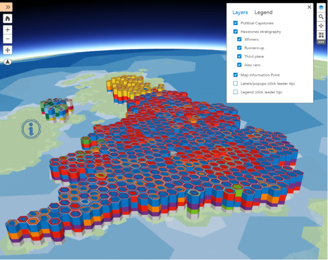 The map shows the results of the UK election in 3D on an interactive virtual globe and positions it as a new development of the tradition of using cartograms to represent election results.