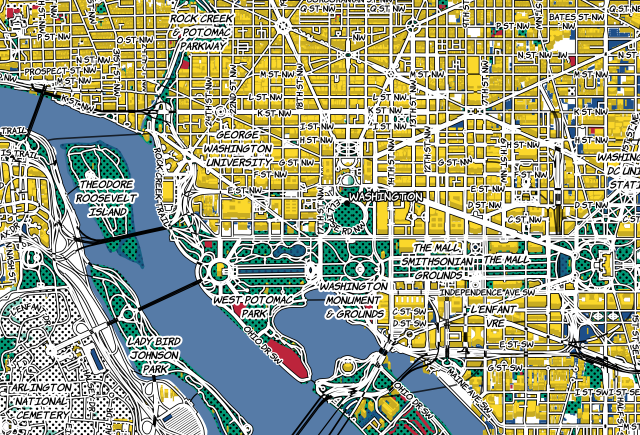 'Roy Lichtenstein-inspired map of DC' by Katie Kowalsky