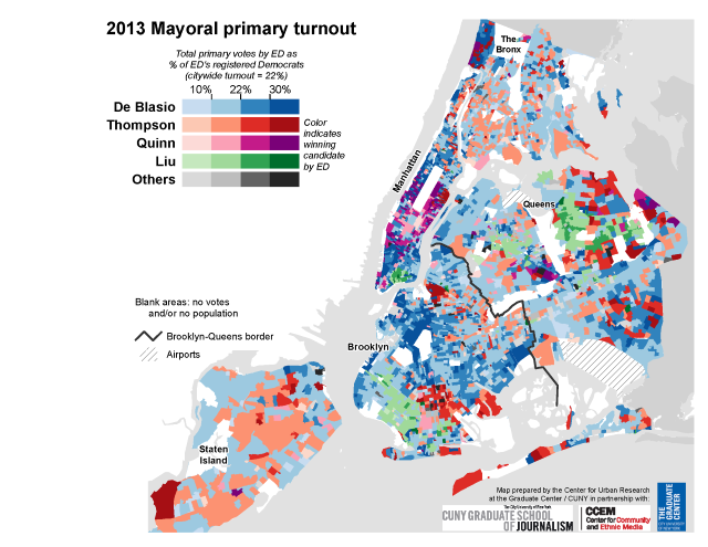 'NYC 2013 Mayoral primary turnout' by Steven Romalewski