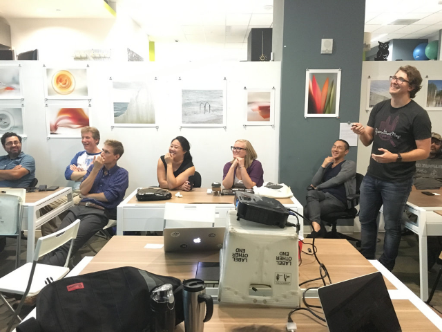 Mapillary's Johan explains the workings behind the app to MaptimeLA at Opodz