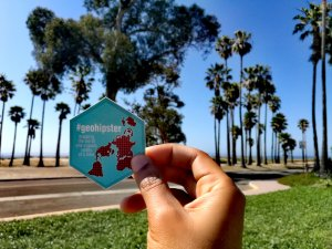 A picture of the GeoHipster sticker in Southern California