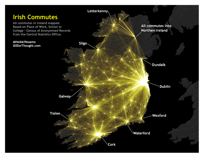 Irish commutes map